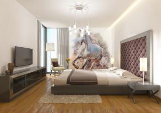 Фотообои ''Белый конь живопись 200х270 см''